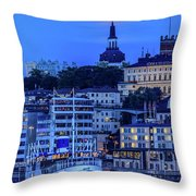 Full Moon Over The Katarina Church And Sodermalm In Stockholm Throw Pillow