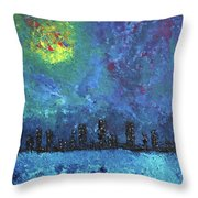 Full Moon Over Watercity Throw Pillow