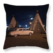 Full Moon Over Wigwam Motel Throw Pillow