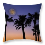 Full Moon Palm Tree Sunset Throw Pillow