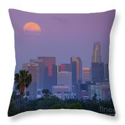 Full Moon Rising Over Downtown Los Angeles Skyline Throw Pillow