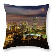 Full Moon Rising Over Downtown Portland Throw Pillow