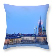 Full Moon Rising Over Gamla Stan Churches In Stockholm Throw Pillow