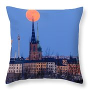 Full Moon Rising Over Gamla Stan In Stockholm Throw Pillow