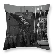 Full Moon Rising Over Motif  Number 1 Rockport Ma Black And White Throw Pillow