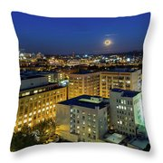 Full Moon Rising Over Portland Downtown Throw Pillow