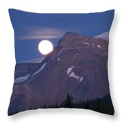 Full Moon Over The Rockies Throw Pillow