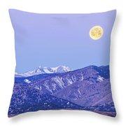 Full Moon Setting Over The Colorado Rocky Mountains Throw Pillow