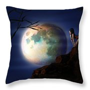 Full Moon Throw Pillow by Virginia Palomeque