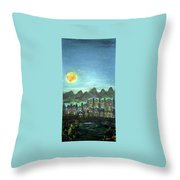 Full Moon Village Throw Pillow