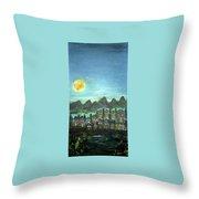 Full Moon Village Throw Pillow