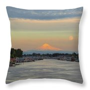 Full Moonrise Over Mount Hood Along Columbia River Throw Pillow