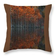 Full Of Glory - Cypress Trees In Autumn Throw Pillow