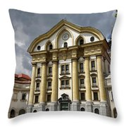 Full Sun On The Ursuline Church Of The Holy Trinity With Marble  Throw Pillow