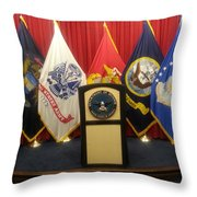 Full View Swearing In Flags Throw Pillow
