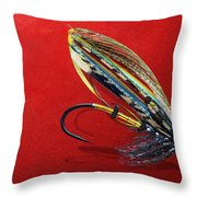 Fully Dressed Salmon Fly On Red Throw Pillow