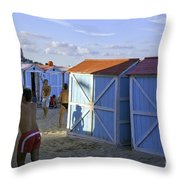 Fun At Mondello Beach Throw Pillow