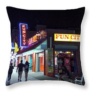 Fun City On The Boards Throw Pillow