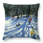 Fun in the Snow Throw Pillow by Andrew Macara