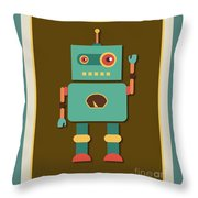 Fun Retro Robot Throw Pillow