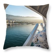 Funchal By The Ship Throw Pillow