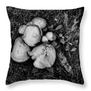 Fungi No 4 Bw Throw Pillow