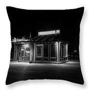Funicular Ticket Booth At Night In Black And White Throw Pillow