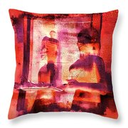 Funky Abstract Square Welcome Couple Red Pink Purple Lake City 1a Throw Pillow