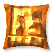Funky Abstract Square Welcome Couple Sunny Yellow Lake City 1b Throw Pillow