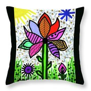 Funky Flower Mod Pop Throw Pillow