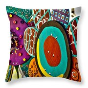 Funky Flowers Throw Pillow