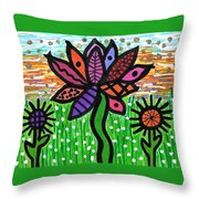 Funky Flowers At Sunset Throw Pillow