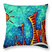 Funky Town Original Madart Painting Throw Pillow
