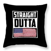 Funny American Flag Fourth July Gift 4th July Independence Day Throw Pillow