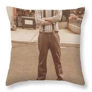 Funny Anchorman On Tv Throw Pillow