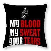 Funny Baseball Pitcher Design My Blood Throw Pillow