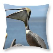 Funny Brown Pelican Throw Pillow