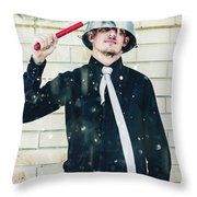 Funny Cleaner Man Ready For Action Throw Pillow