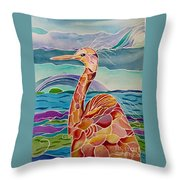Funny Egret Throw Pillow
