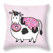 Funny Fat Holstein Cow Sprinkle Doughnut Throw Pillow