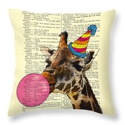 Funny Giraffe, Dictionary Art Throw Pillow