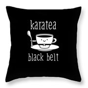 Funny Karate Design Karatea Black Belt White Light Throw Pillow