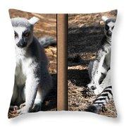 Funny Lemurs Throw Pillow