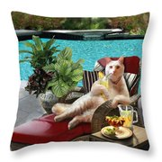 Funny Pet  Vacationing Kitty Throw Pillow