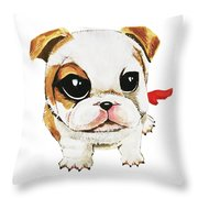 Funny Puppy Hand Painted Watercolor  Throw Pillow