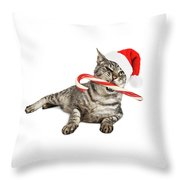 Funny Santa Cat With Candy Cane Throw Pillow