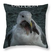 Funny Seagull With Starfish Throw Pillow