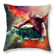 Funny Space Sloth Riding On Turtle Throw Pillow
