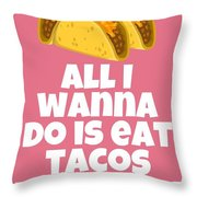 Funny Tacos Valentine - Cute Love Card - Valentine's Day Card - Eat Tacos With You - Taco Lover Gift Throw Pillow