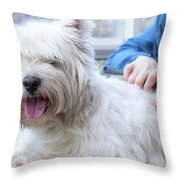 Funny View Of The Trimming Of West Highland White Terrier Dog Throw Pillow